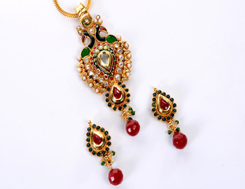 Delicate Peacock Pendent Set