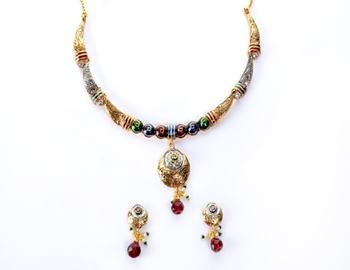 Delicate Silver Golden Peacock Colour Necklace Set
