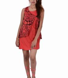 Buy Cotton  Plain And Print  Red Color Dress top online