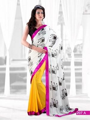 Designer Bollywood  Silk Georgette Jacquard Saree Sari Sand207A