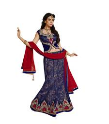 Blue Color Net Designer Semi  Stitched Lehenga Choli