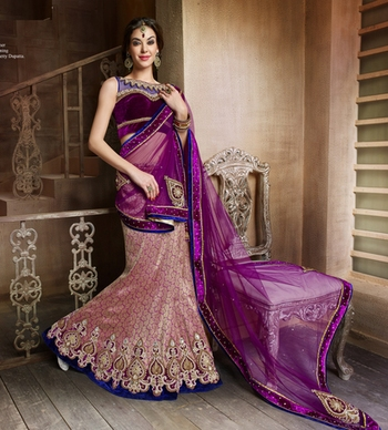multicolor Brocade and Net Embroidered Work unstitched lehenga-choli