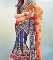 Buy multicolor brocade and net Embroidered Work unstitched lehenga-choli lehenga-choli online