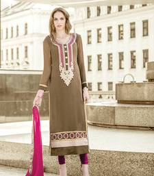 Buy Beige georgette embroidered semi_stitched salwar with dupatta festive-salwar-suit online