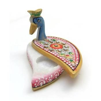 Marble peacock - kumkum holder