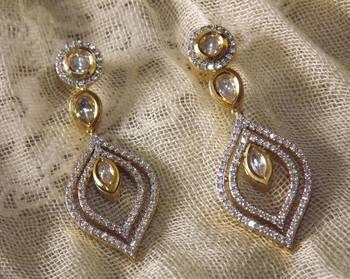 Kundan and Diamond Earrings