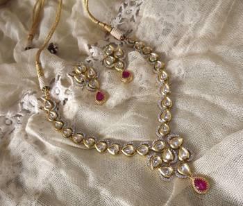 Long Kundan and Diamond Necklace Set