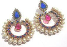 Pink and blue tilak pearl polki earrings