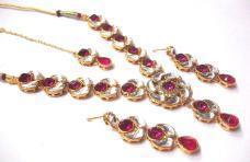 Dark Pink Stone lotus Kundan Necklace Set