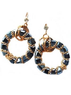 Black Golden Casual Hanging Earrings