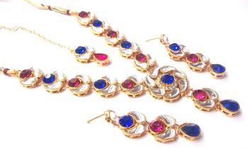 Pink and Blue Stone lotus Kundan Necklace Set