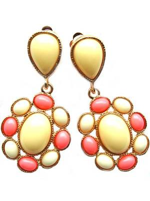 Yellow Pink Casual College Earrings