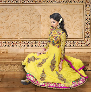 Ravishing Yellow Net Long Length Anarkali Salwar Kameez