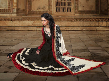 Ethnic Black Faux Georgette Long Length Anarkali Salwar Kameez