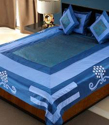 Buy Designer 5 Piece Blue Silk Bedcover Cushion n Pillow Covers Set duvet-cover online