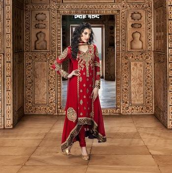 Enigmatic Bick Red  Faux Georgette Designer Anarkali Salwar Kameez