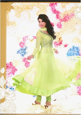 Melodic Aloe Vera Green Net & Senton Long Length Anarkali Salwar Kameez