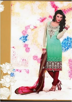 Gorgeous Mint Green Faux Georgette & Net Party Wear Salwar Kameez