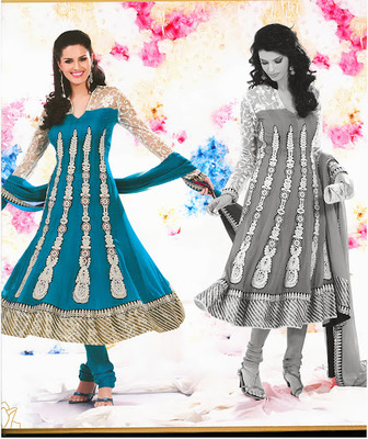 Gorgeous Tal Blue Faux Georgette & Net Anarkali Salwar Kameez