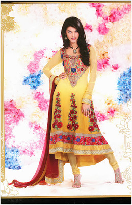 Gleaming Yellow Faux Georgette Pakistani Suits
