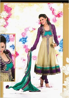 Majesty Buttercream, Geenish Blue & Violet Faux Georgette & Net Designer Salwar Kameez