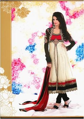 Exquisite Black, Buttercream & Crimson Faux Georgette & Net Designer Salwar Kameez