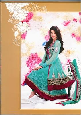 Contemporary Geenish Blue Faux Georgette & Net Designer Salwar Kameez