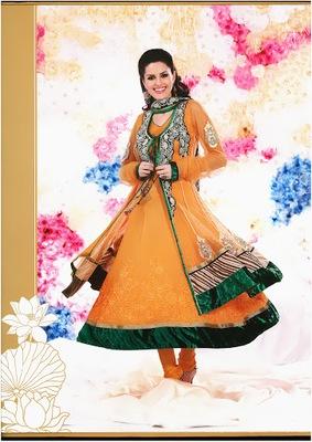 Scintillating Orange Faux Georgette & Net Designer Salwar Kameez