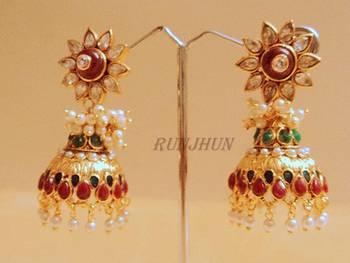 royal kundan and pearl jhumki