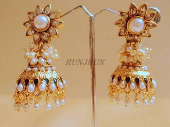 royal kundan and pearl jhumki