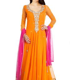 Buy orange net embroidered semi_stitched salwar with dupatta anarkali-salwar-kameez online