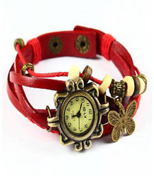 Buy Red Designeer Leather Watch Watch gifts-for-sister online