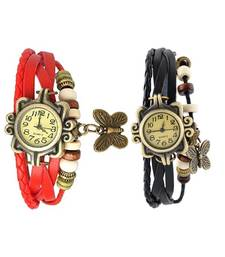 Buy red black Designeer Combo Leather Watch Watch gifts-for-sister online