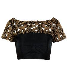 Fabron Black designer cutwork embroidered unstitched blouse for women