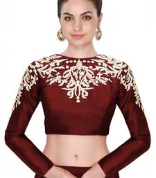 Buy Fabron Maroon embroidered  designer raw silk long sleeves blouse for women blouse-fabric online