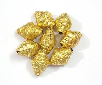 shell shape hollow golden bead