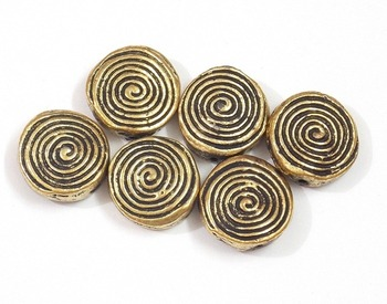 Button style round flat golden beads