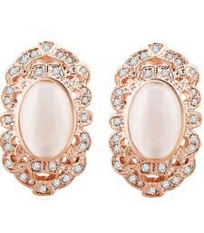 Buy 18 Karat Rose Gold Plated Regal Shell Swarovski Elements Earrings for Women stud online