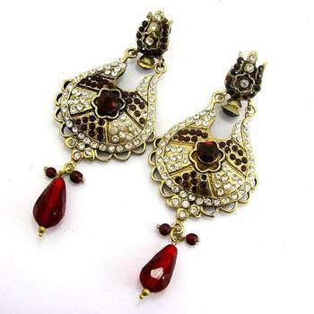 Victorian Pendant Danglers Blood Red