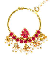 Buy Deepika Padukone Inspired Traditional Ethnic Pink Drop Pearl Nath Nose Ring for Women nose-ring online