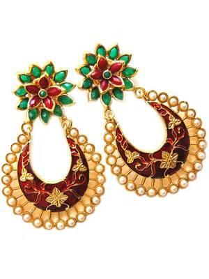 Golden Maroon Bollywood Earrings
