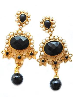 White Moti & Golden Bollywood Hanging Earrings