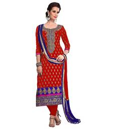 Buy Red chanderi embroidered Semi Stitched  salwar with dupatta anniversary-gift online