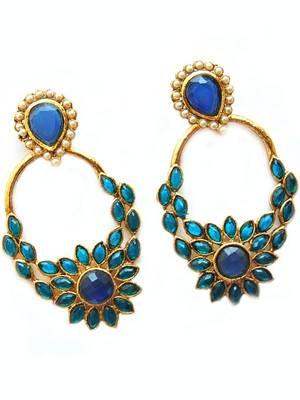 Golden Blue Bollywood Hanging Earrings
