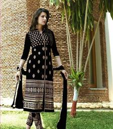 Buy Black embroidered Georgette unstitched salwar with dupatta wedding-gift online