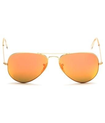SuperDeals Golden Frame & Orange Glass Aviator Sunglasses For Men & Women