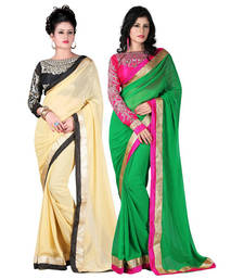 Buy Beige and Green embroidered chiffon saree with blouse sarees-combo-sari online
