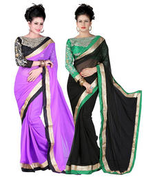 Buy Purple and Black embroidered chiffon saree with blouse sarees-combo-sari online