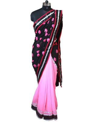 Black and Pink kairi work saree with silver border