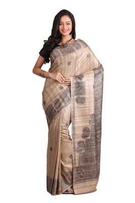 Black Printed Raw Silk saree with blouse
